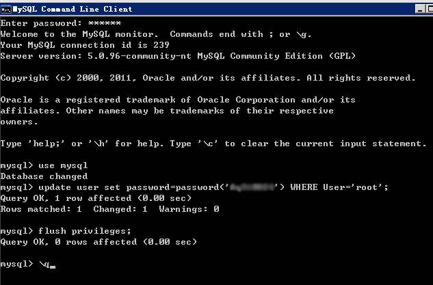 修改MySql数据库root用户名的密码